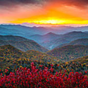 Blue Ridge Parkway Autumn Sunset Nc - Rapture Print by Dave Allen
