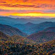 Blue Ridge Parkway Fall Sunset Landscape - Autumn Glory Print by Dave Allen
