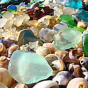 Blue Seaglass Beach Art Prints Shells Agates Print by Baslee Troutman