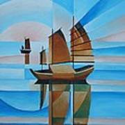 Blue Skies And Cerulean Seas Print by Tracey Harrington-Simpson