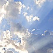 Blue Sky With Sun Rays Print by Elena Elisseeva