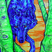 Blue Wolf Print by Derrick Higgins