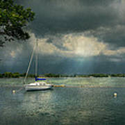 Boat - Canandaigua Ny - Tranquility Before The Storm Print by Mike Savad