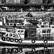 Boat Reflections In Valparaiso Print by John Rizzuto