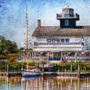 Boat - Tuckerton Seaport - Tuckerton Lighthouse Print by Mike Savad