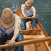 Boaters Rowing On The Yerres Print by Gustave Caillebotte