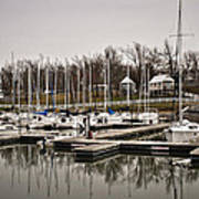 Boats And Cottages On Overcast Day Print by Greg Jackson