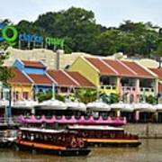 Boats At Clarke Quay Singapore River Print by Imran Ahmed