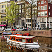 Boats On Canal In Amsterdam Print by Artur Bogacki