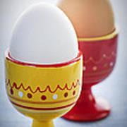 Boiled Eggs In Cups Print by Elena Elisseeva