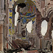 Bombed Out Interior Of Albert Church Print by Ernest Proctor