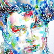 Bono Watercolor Portrait.1 Print by Fabrizio Cassetta