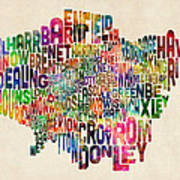 Boroughs Of London Typography Text Map Print by Michael Tompsett