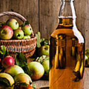 Bottled Cider With Apples Print by Amanda Elwell