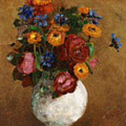 Bouquet Of Flowers In A White Vase Print by Odilon Redon