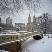 Bow Bridge Central Park In Winter  Print by Vivienne Gucwa