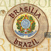 Brazil Coat Of Arms Print by Debbie DeWitt