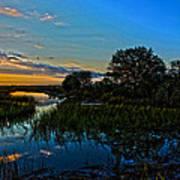 Break Of Dawn Over Low Country Marsh Print by Savlen Art
