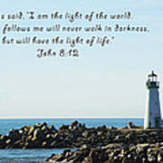 Breakwater Lighthouse Santa Cruz With Verse  Print by Barbara Snyder