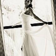 Bride At The Balcony. Black And White Print by Jenny Rainbow