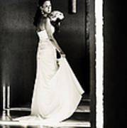 Bride I. Black And White Print by Jenny Rainbow