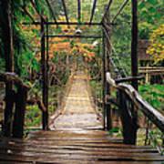 Bridge Over Waterfall Print by Nawarat Namphon