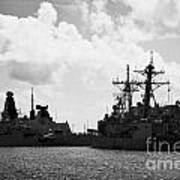 British Brazilian And Us Navy Warships Mole Pier Key West Harbor Florida Usa Print by Joe Fox