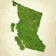 British Columbia Grass Map Print by Aged Pixel