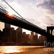 Brooklyn Bridge And Skyline Manhattan New York City Print by Sabine Jacobs