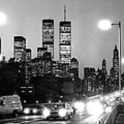 Brooklyn Bridge Traffic II Dusk 1980s Print by Gary Eason