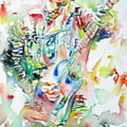 Bruce Springsteen Playing The Guitar Watercolor Portrait Print by Fabrizio Cassetta