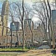 Bryant Park Library Gardens Print by Tony Ambrosio