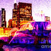 Buckingham Fountain At Night Digital Painting Print by Paul Velgos