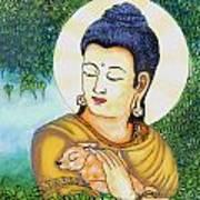 Buddha Green Print by Loganathan E