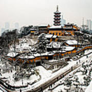 Buddha - Jiming Temple In The Snow - Colour Version  Print by Dean Harte