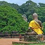 Buddha Statue Wearing A Yellow Sash Print by Sami Sarkis