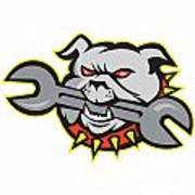 Bulldog Dog Spanner Head Mascot Print by Aloysius Patrimonio