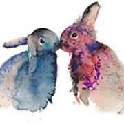 Bunnies In Love Print by Kristina Bros