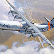 C-133 Cargomaster Over Travis Print by Stu Shepherd