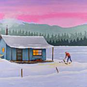 Cabin On A Frozen Lake Print by Gary Giacomelli