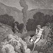 Cain And Abel Offering Their Sacrifices Print by Gustave Dore