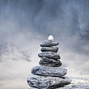 Cairn And Stormy Sky Print by Colin and Linda McKie