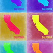California Pop Art Map 2 Print by Naxart Studio