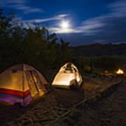 Campfire And Moonlight Print by Adam Romanowicz