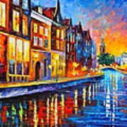 Canal In Amsterdam Print by Leonid Afremov