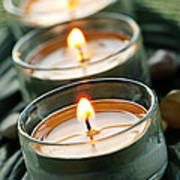 Candles On Green Print by Elena Elisseeva