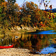 Canoe On The Gasconade River Print by Steve Karol