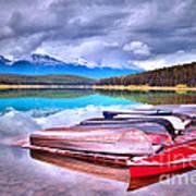 Canoes At Lake Patricia Print by Tara Turner