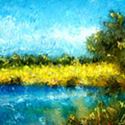 Canola Fields Impressionist Landscape Painting Print by Michelle Wrighton