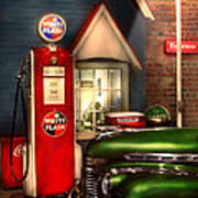 Car - Station - White Flash Gasoline Print by Mike Savad
